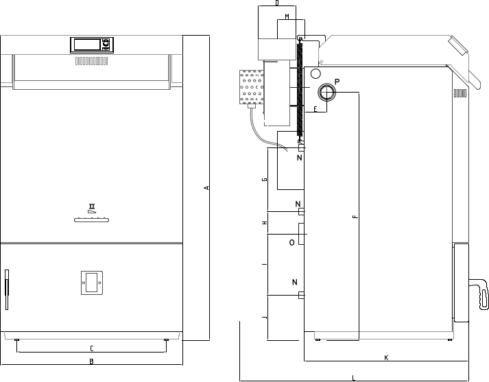 Dimensions of gasification boiler BLAZE COMFORT